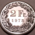 Rare Cameo Proof Switzerland 1975 2 Francs~Only 10,000 Minted~Proofs R Best~F/Sh