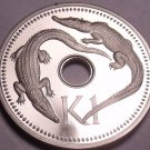 Rare Cameo Proof Papua New Guinea 1981 Kina~Crocodiles~10,000 Minted~Free Ship