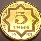 Gem Proof-Like Kazakhstan 1993 5 Tyin~1st Year For Any Coinage~Free Shipping
