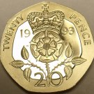 Cameo Proof Great Britain 1993 20 Pence~Crowned Rose~100,000 Minted~Free Ship