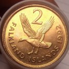 Unc Roll (20) Large Falkland Islands 1992 2 Pence Coins~Upland Goose~Free Ship