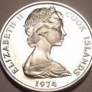 Rare Cameo Proof Cook Islands 1974 5 Cents~Hibiscus~Only 7,300 Minted~Free Ship