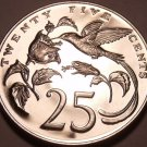 Large Rare Proof Jamaica 1971 25 Cents~14K Minted~Hummingbirds~Free Shipping