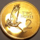 Rare Proof Zambia 1978 2 Ngwee~Martial Eagle~Low Mintage 24,000~Free Shiping