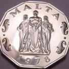Rare Massive Cameo Proof Malta 1978 50 Cents~Great Siege~3,244 Minted~Free Ship