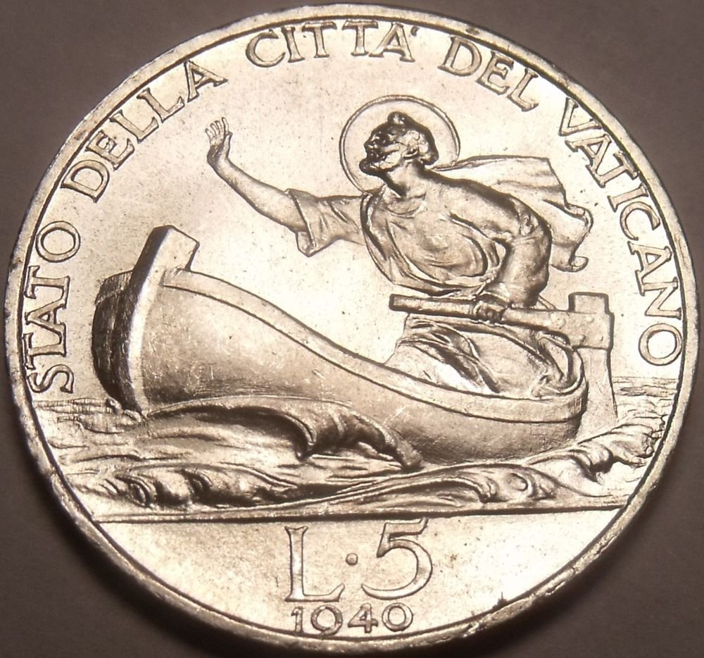 Rare Gem Unc Silver Vatican 1940 5 Lire~100,000 Minted~St Peter In a Boat~Fr/Shi