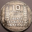 Large Silver France 1934 10 Francs~Minted In Paris~Free Shipping*