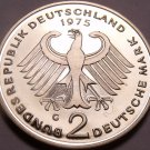 Gem Cameo Proof Germany 1975-G 2 Marks~Theodor Heuss~Only 43,000 Minted~Free Shi