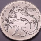 Rare Gem BU Jamaica 1973 25 Cents~Hummingbirds~Only 10,000 Minted~Free Shipping