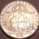 Rare Gem Unc Silver Sweden 1938-G 2 Kronor~Calmere Nyckel~300th Anniv~Free Ship