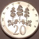 Large Proof Jamaica 1971 20 Cents~14,000 Minted~Mahoe Tree~Excellent~Free Ship
