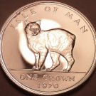 Rare Silver Proof Isle Of Man 1970 Crown~11,000 Minted~Manx Cat~Free Shipping