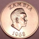 Rare Proof Zambia 1968 5 Ngwee~Morning Glory~Extreme Low Mintage 4,000~Free Ship