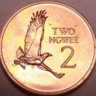 Rare Proof Zambia 1968 2 Ngwee~Martial Eagle~Extreme Low Mintage 4,000~Free Ship