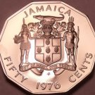 Huge Rare Proof Jamaica 1976 50 Cents~10 Sided Coin~24,000 Minted~Free Shipping