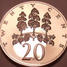Large Rare Proof Jamaica 1975 20 Cents~Only 16,000 Minted~Mahoe Tree~Free Ship