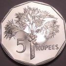 Large Rare Proof Seychelles 1982 5 Rupees~Only 5,000 Minted~Palm Tree~Free Ship