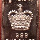 Gem Proof .999 1 Gram Silver Bullion Bar~A Kings Crown~Free Shipping