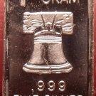 Gem Proof .999 1 Gram Silver Bullion Bar~Liberty Bell~Free Shipping