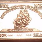 Gem Unc .999 Pure Copper 1 Gram Ship With Sails Bar~Free Shipping