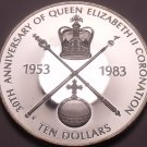 Rare Silver Proof Bahamas 1983 $10~Queens Coronation~Only 3,374 Minted~Free Ship