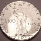 Large Gem Unc Vatican 1963 100 Lire~558,000 Minted~Fides~Fantastic~Free Shipping