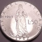 Rare Unc Vatican 1963 50 Lire~Only 120,000 Minted~Spes Standing With Anchor~Fr/S