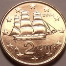 Gem Unc Greece 2004 2 Euro Cents~Corvette Sailing Ship~Minted In Athens~Free Shi