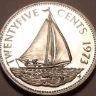 Rare Proof Bahamas 1973 25 Cents~Bahamian Sloop~Only 35,000 Minted~Free Shipping