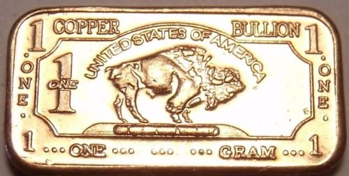 Gem Unc .999 Pure Copper 1 Gram Buffalo Bar~Totonka~Free Shipping