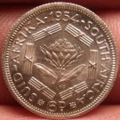 Unc Silver South Africa 1954 6 Pence~Protea Flower~Triangle Bars~Free Shipping