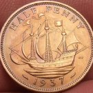 Gem Unc Great Britain 1937 Half Penny~The Golden Hind~1st Year Ever~Free Ship