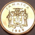 Rare Proof Jamaica 1969 Cent~1st Year Ever~Ackee Fruit~19,000 Minted~Free Ship