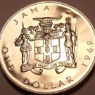 Huge Rare Proof Jamaica 1969 Dollar~1st Year Ever Minted~Prime Minister~Free Shi