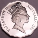 Cameo Proof Australia 1986 50 Cents~Only 67,000 Minted~Kangaroo & Emu~Free Ship