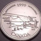 Unc Canada 1999 Millennium 25 Cents~November~Bush Plane With Landing Skiis~Fr/Sh