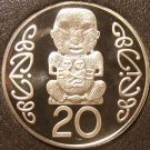 Large Rare Cameo Proof New Zealand 1992 20 Cents~9,000 Minted~Pukaki~The Gods~FS