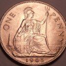 Huge Unc Great Britain 1963 Penny~Britannia Seated Right~Excellent~Free Shipping