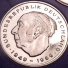 Gem Cameo Proof Germany 1975-F 2 Marks~Theodor Heuss~Only 43,000 Minted~Free Shi