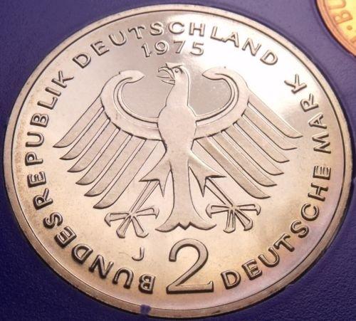 Gem Cameo Proof Germany 1975-J 2 Marks~Konrad Adenauer~43k Minted~Free Shipping