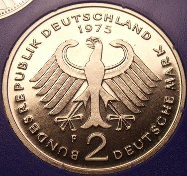 Gem Cameo Proof Germany 1975-F 2 Marks~Konrad Adenauer~43k Minted~Free Shipping