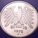 Gem Cameo Proof Germany 1975-F 5 Marks~Eagle With Feathers Spread~43k Minted~F/S