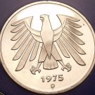 Gem Cameo Proof Germany 1975-D 5 Marks~Eagle With 14 Feathers~43k Minted~Free Sh