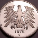Gem Cameo Proof Germany 1975-G 5 Marks~Eagle With 14 Feathers~43k Minted~Free Sh