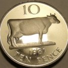 Large Rare Gem Cameo Proof Guersney 1981 10 Pence~Guernsey Cow~10,000 Minted~F/S