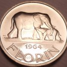 Rare Proof Malawi 1964 Florin~10,000 Minted~Elephants~1st Year Ever~Free Ship