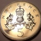 Proof Great Britain 1974 5 Pence~Only 100,000 Minted~Crowned Thistle~Free Ship