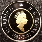 Rare Cameo Silver & Gold Proof Canada 2002 2 Dollars~21,573 Minted~50th Anniv~FS