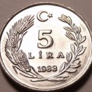 Rare Gem Unc Turkey 1988 5 Lira~Cresent Moon And Star~100,000 Minted~Free Ship