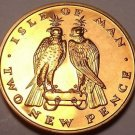 Rare Proof Isle Of Man 1971 2 Pence~Only 10,000 Minted~2 Falcons~Free Shipping